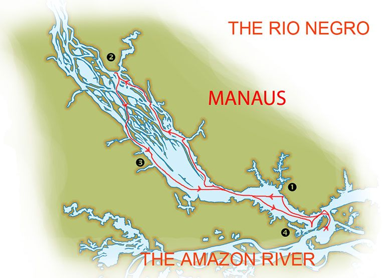 Map for The Amazon Odyssey