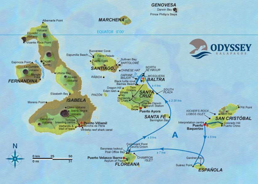 Map for Galapagos Cruise A (Galapagos Odyssey)