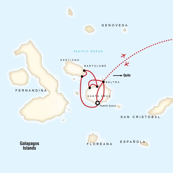 Map for Galápagos Land & Sea — Central Islands (Monserrat)
