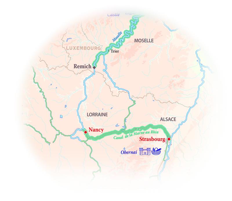 Map for Alsace & Lorraine Cruise (La Nouvelle Etoile)
