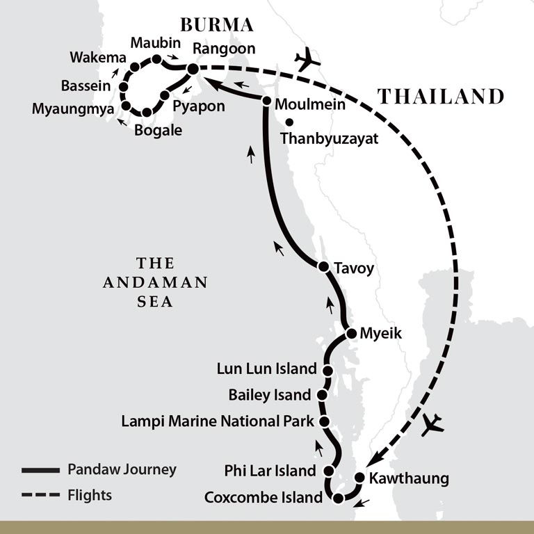 Map for Delta & Coast - All Southern Burma (Kalaw Pandaw)