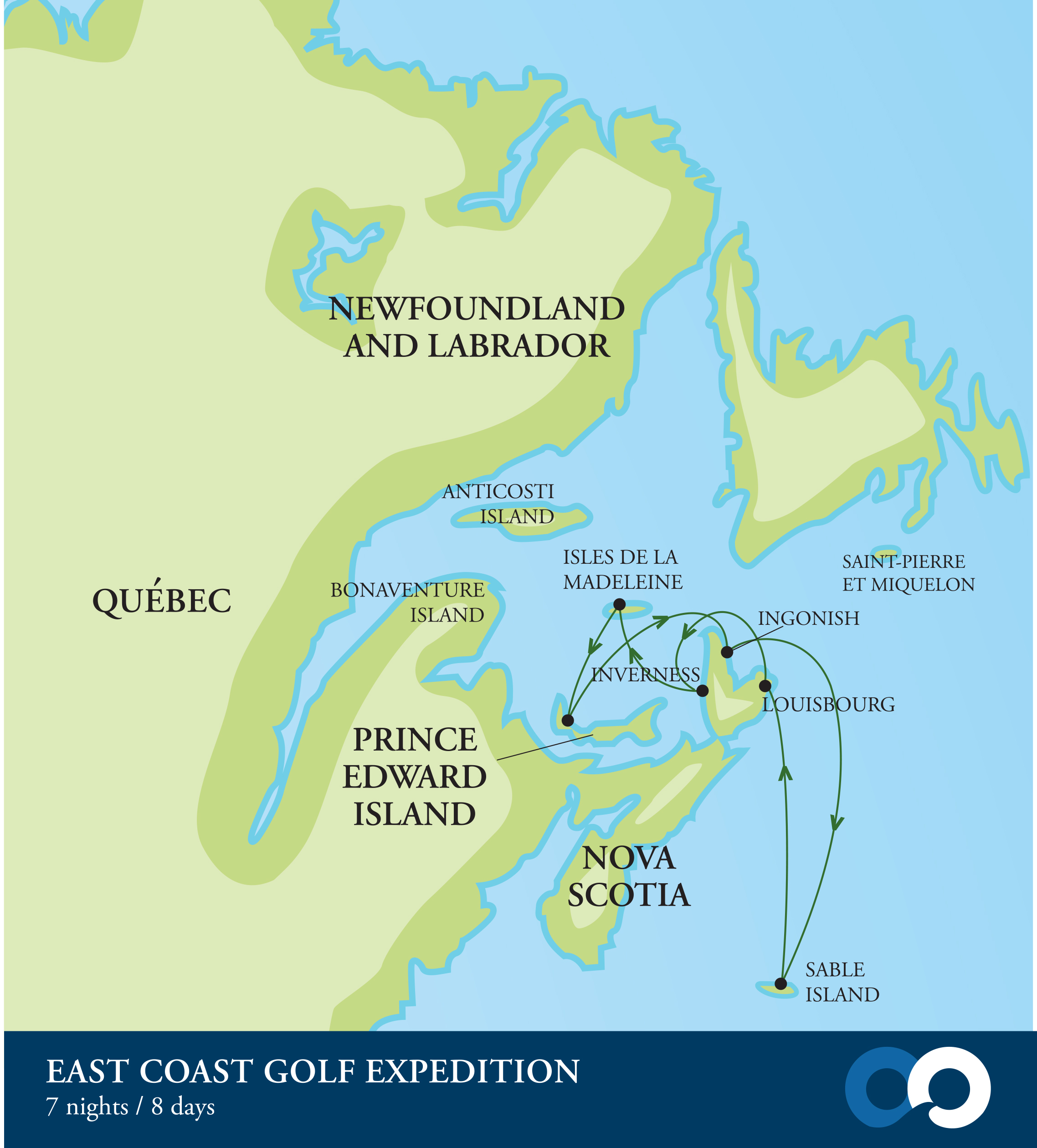 Map for Canada's East Coast Golf Expedition (RCGS Resolute)