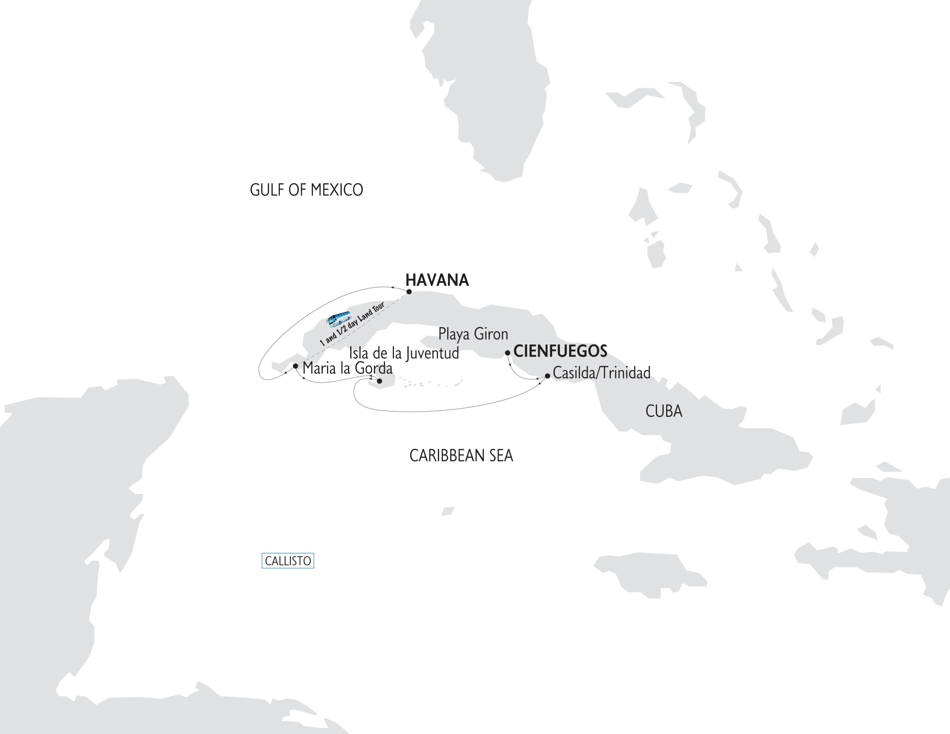 Map for Sights and Sounds of Cuba (Variety Voyager)