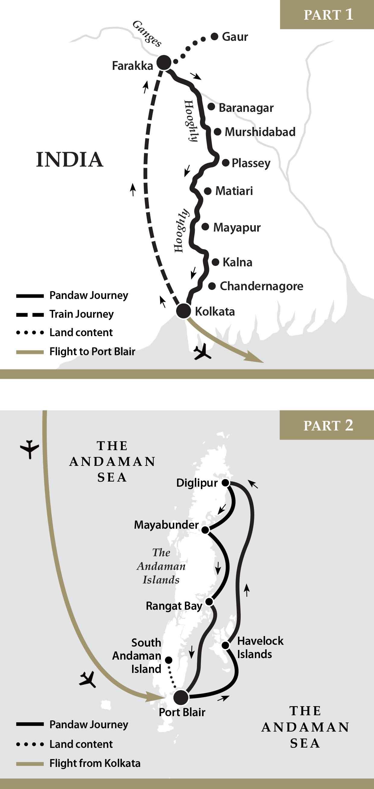 Map for Ganges River & Andaman Islands