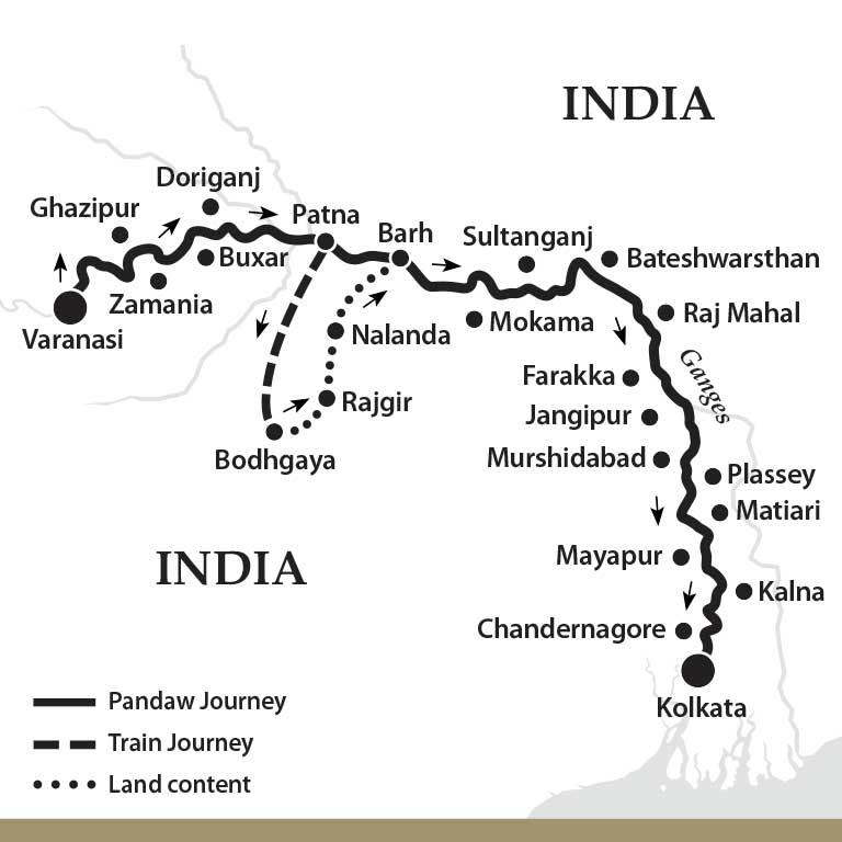 Map for The Upper Ganges River (Downstream)
