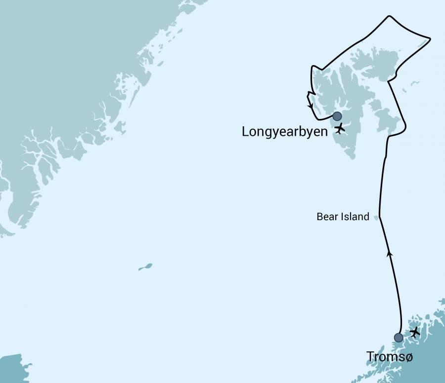 Map for Bear Island - Around Spitsbergen