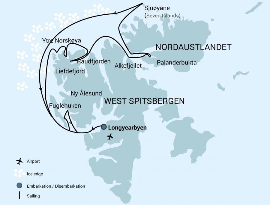 Map for North Spitsbergen, Polar Bear & Pack Ice Special