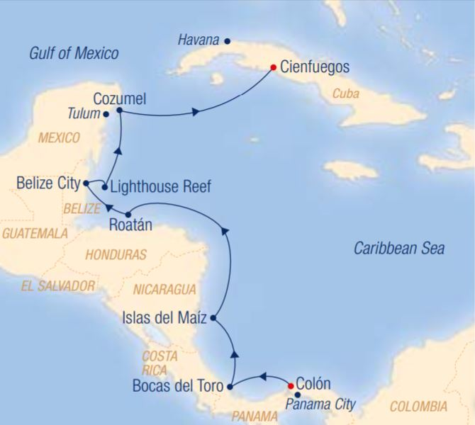 Map for Mystical Maya Sites & Colourful Coral Reefs