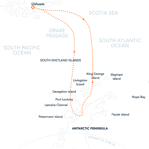 Map for The Antarctic Peninsula In-Depth (Hebridean Sky)