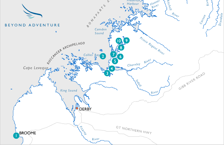 Map for Kimberley Fishing Expedition