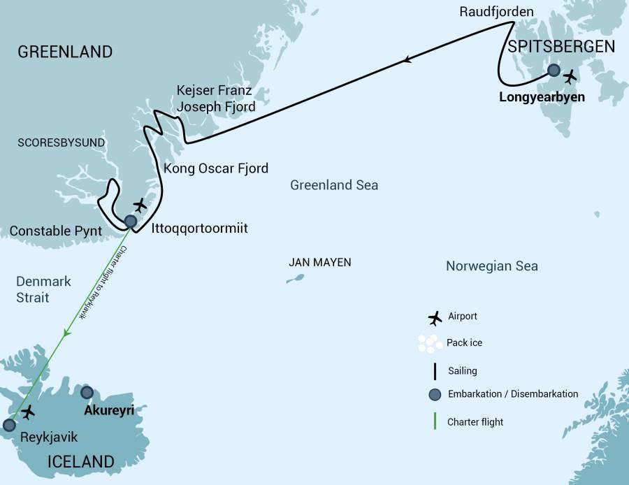 Map for Northeast Greenland Cruise (Rembrandt van Rijn)