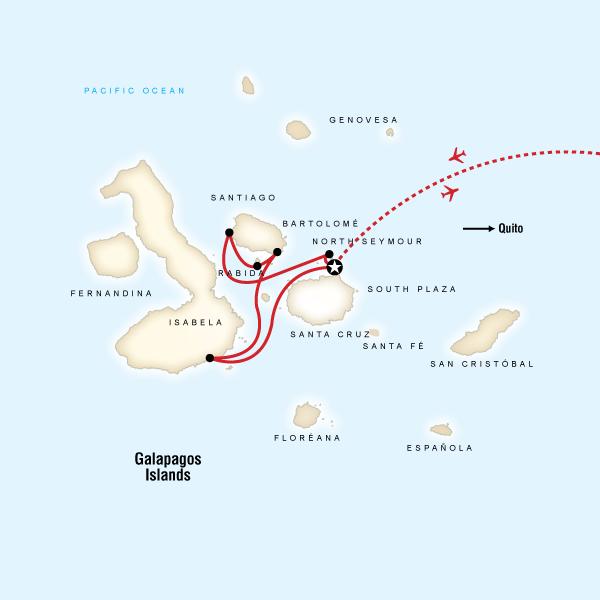 Map for Galápagos — 7 Days West & Central Islands (Monserrat)