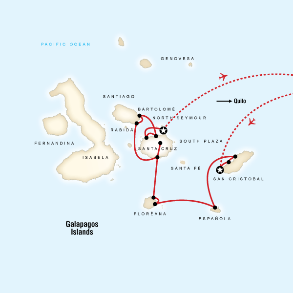 Map for Galápagos — Central, South & East Islands (Monserrat)