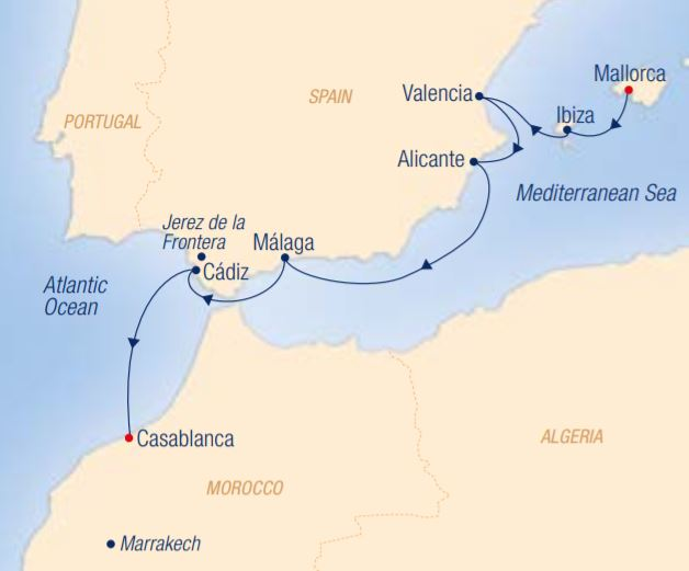 Map for Andalusia's Oriental Heritage: Palma de Mallorca – Casablanca