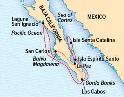Map for Baja California & the Sea of Cortez (NG Venture)