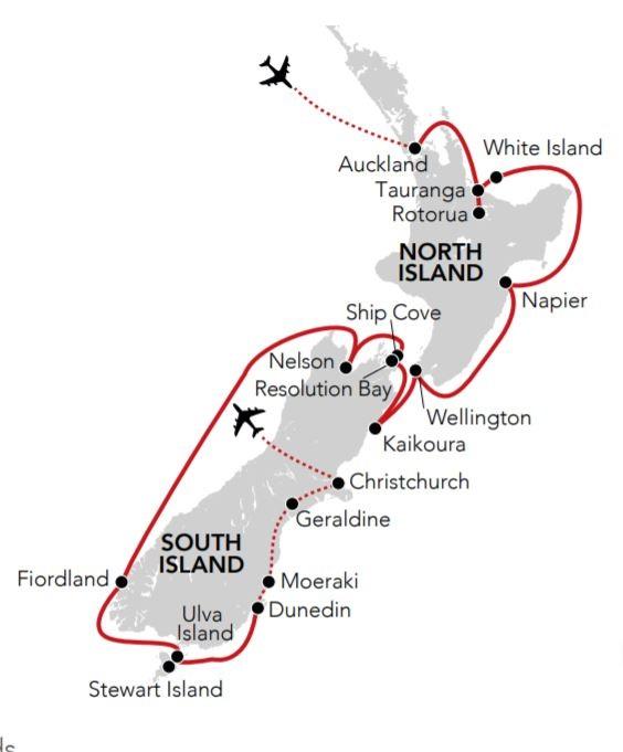 Map for New Zealand Coastal Odyssey 2020