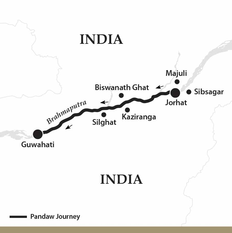 Map for The Mighty Brahmaputra River (Downstream)