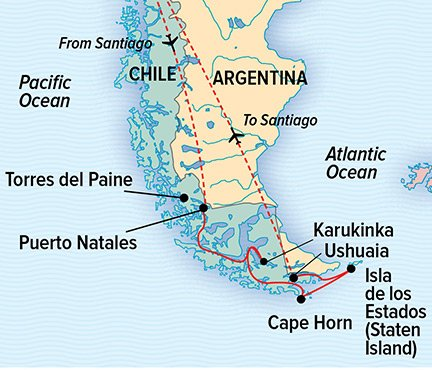 Map for Best of Chilean Patagonia (NG Orion)