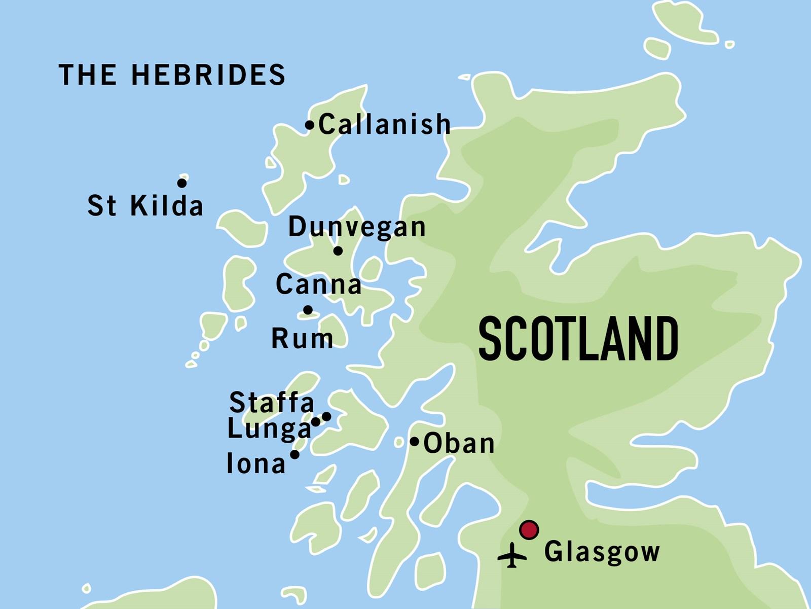 Map for The Hebrides with St Kilda (Stockholm)