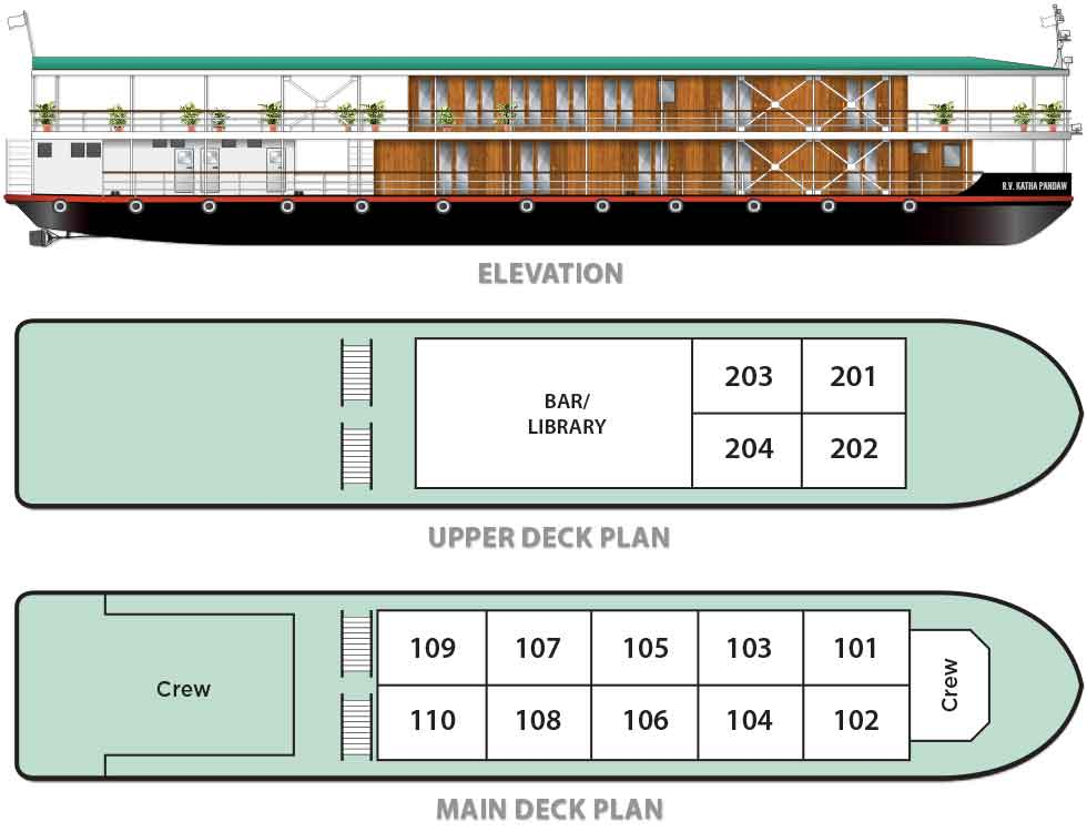 Cabin layout for Katha Pandaw