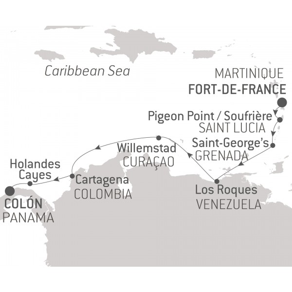 Map for Between Martinique & Panama