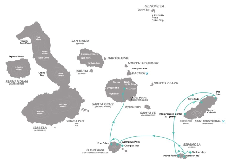 Map for Galapagos South Cruise D (Coral I & II)