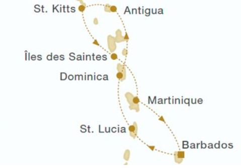 Map for Windward Islands (Royal Clipper)