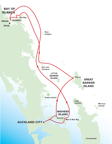 Map for Bay of Islands Cruise