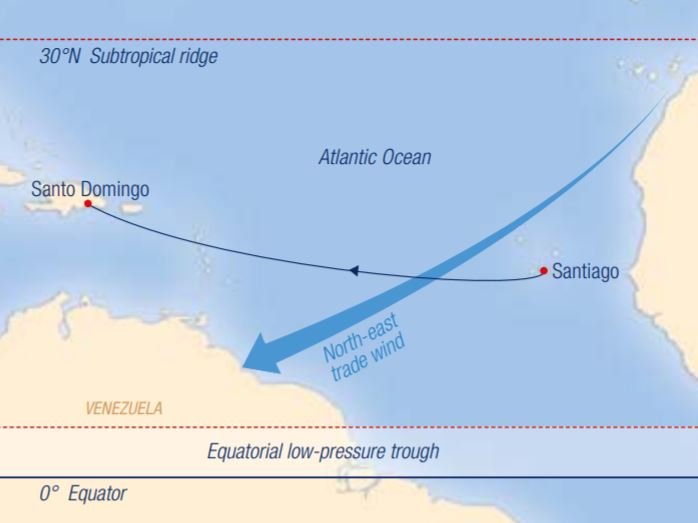Map for Across the Atlantic: Santiago – Santo Domingo