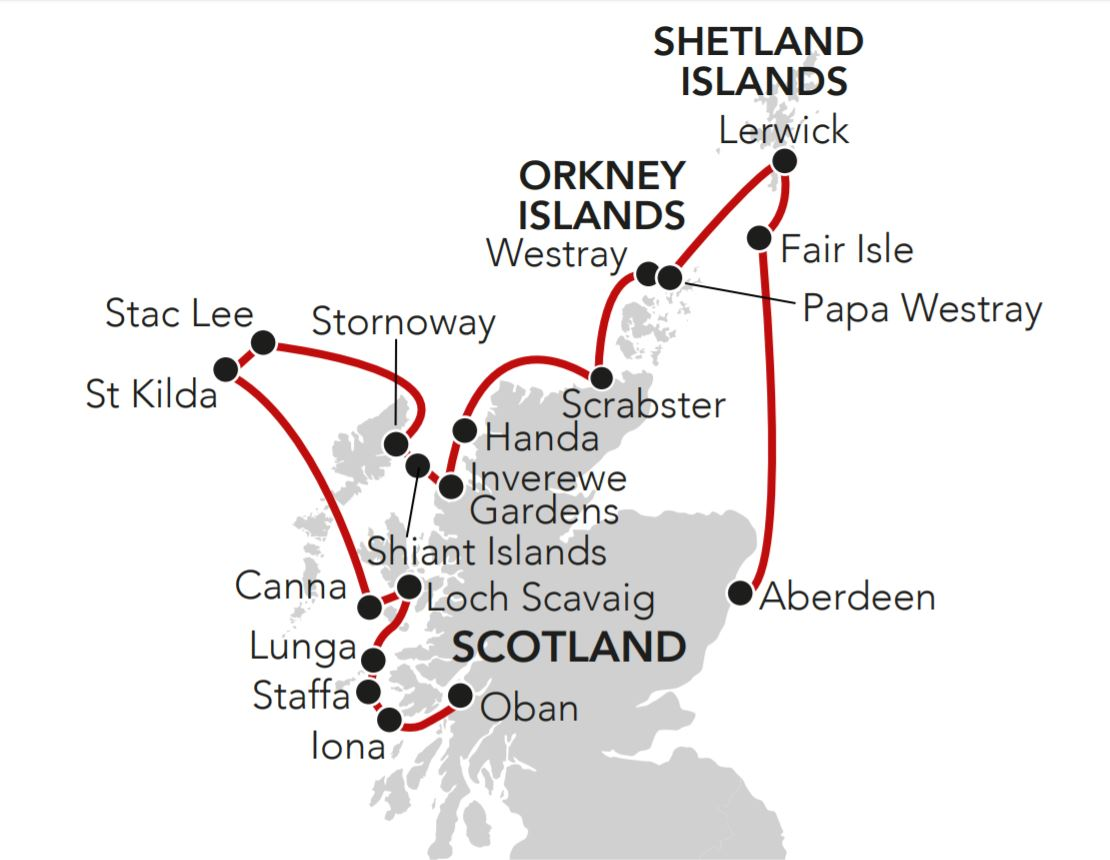 Map for Spring in the Islands and Highlands of Scotland