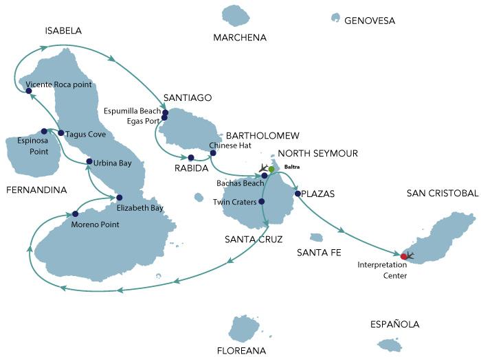 Map for Galapagos Cruise B - 8 Days (Alya)