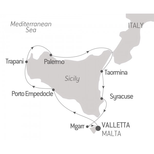 Map for Treasures of Sicily 8 Days (Le Bougainville)