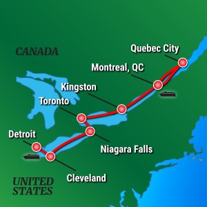 Map for French Canada And Great Lakes