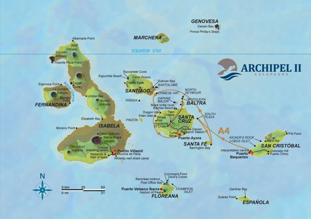 Map for Galapagos 4 Day Cruise Itinerary A (Archipel II)
