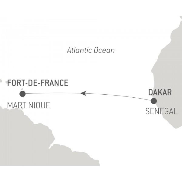 Map for Ocean Voyage: Dakar - Fort-de-France