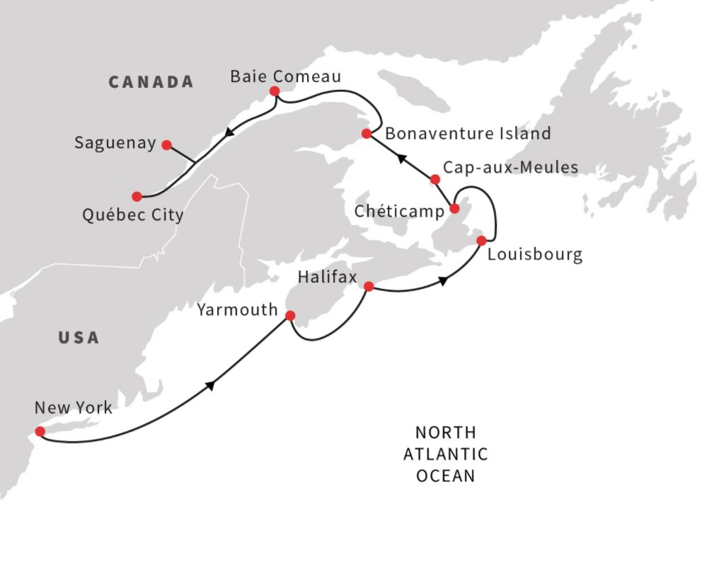 Map for US & Canada – Exploring Hidden Harbours (Northbound)