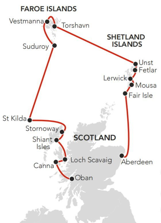 Map for Hebrides to the Faroes