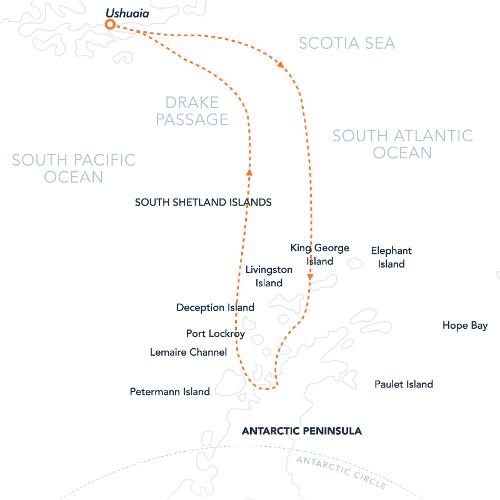 Map for The Antarctic Peninsula Express (Island Sky)