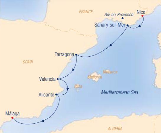 Map for French Flair & Spanish Temperament: Nice – Málaga