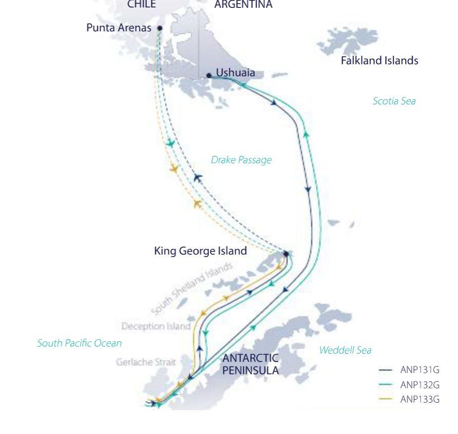 Map for Antarctic Explorer (Greg Mortimer)