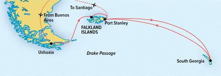 Map for South Georgia and The Falklands (NG Explorer)