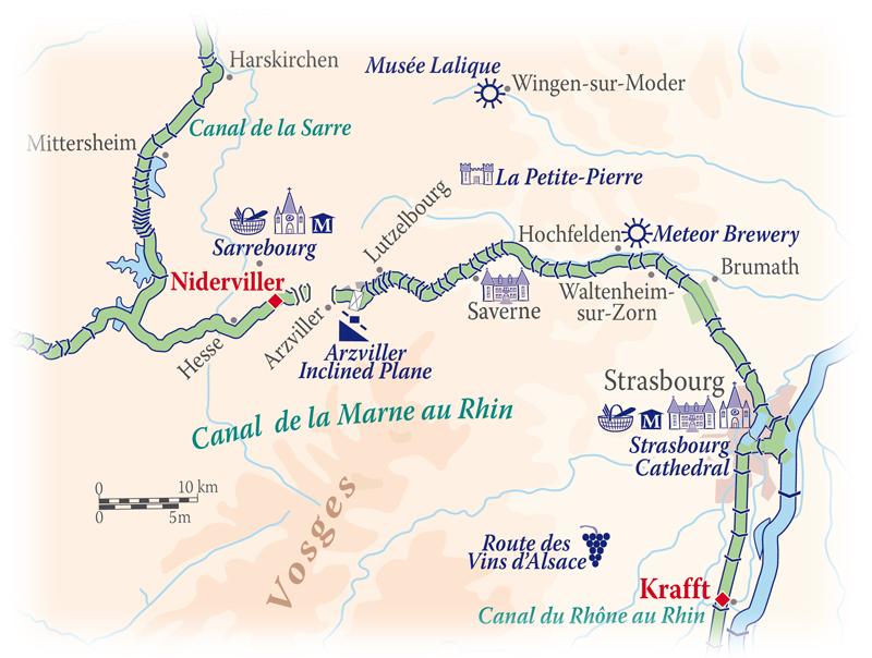 Map for Alsace & Lorraine Cruise (Panache)