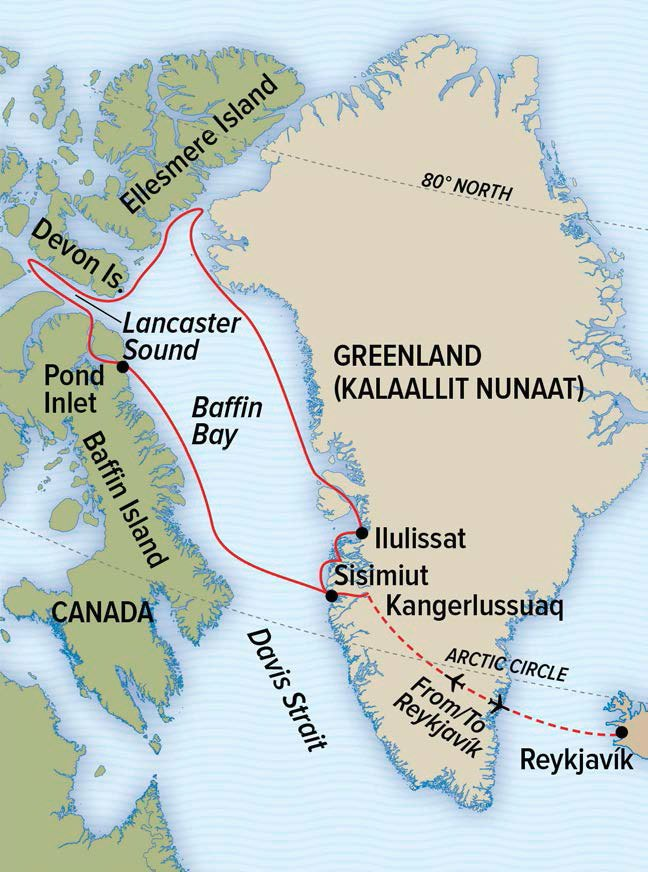Map for Greenland and the Canadian High Arctic Adventure 2019