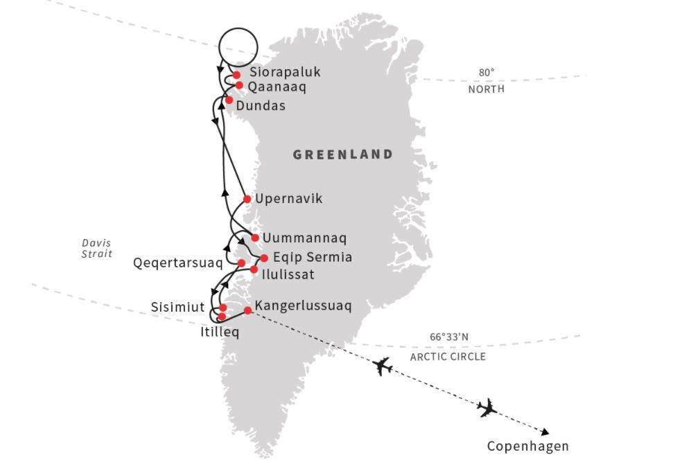Map for Thule and Disko Bay