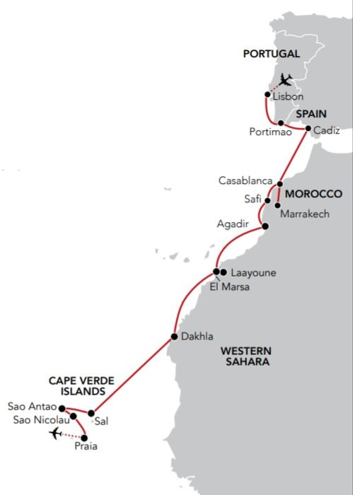 Map for Voyage to Cape Verde
