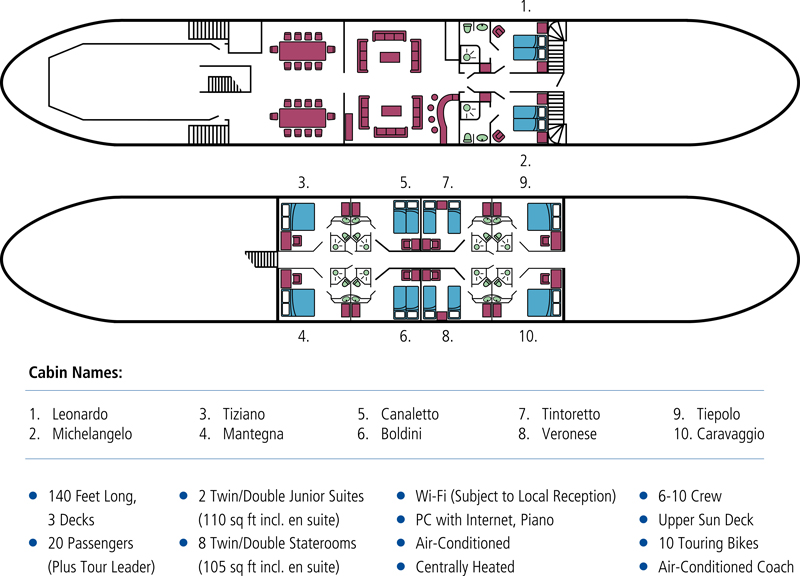 Cabin layout for La Bella Vita
