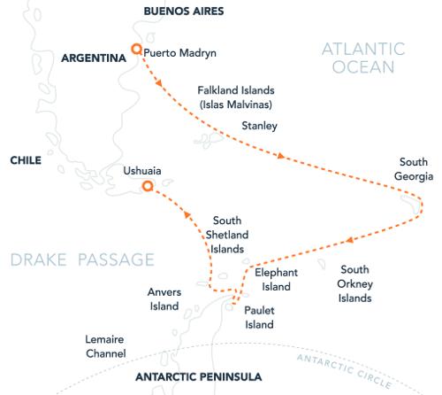 Map for Falklands, South Georgia & Antarctica Via Puerto Madryn