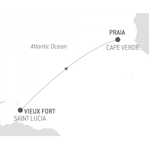 Map for Ocean Voyage: Vieux Fort - Praia