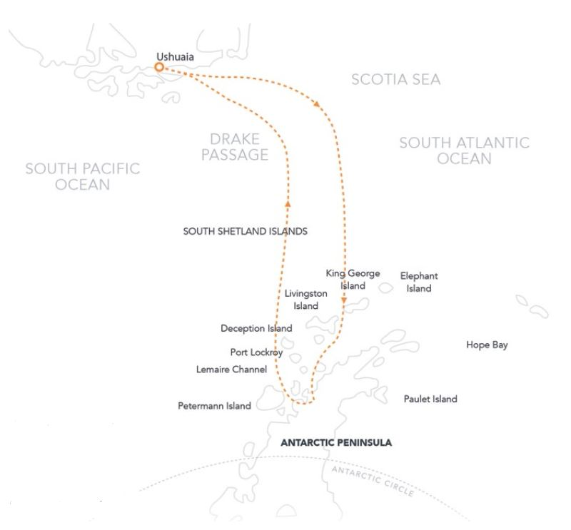 Map for The Antarctic Peninsula In-Depth (Hebridean Sky)