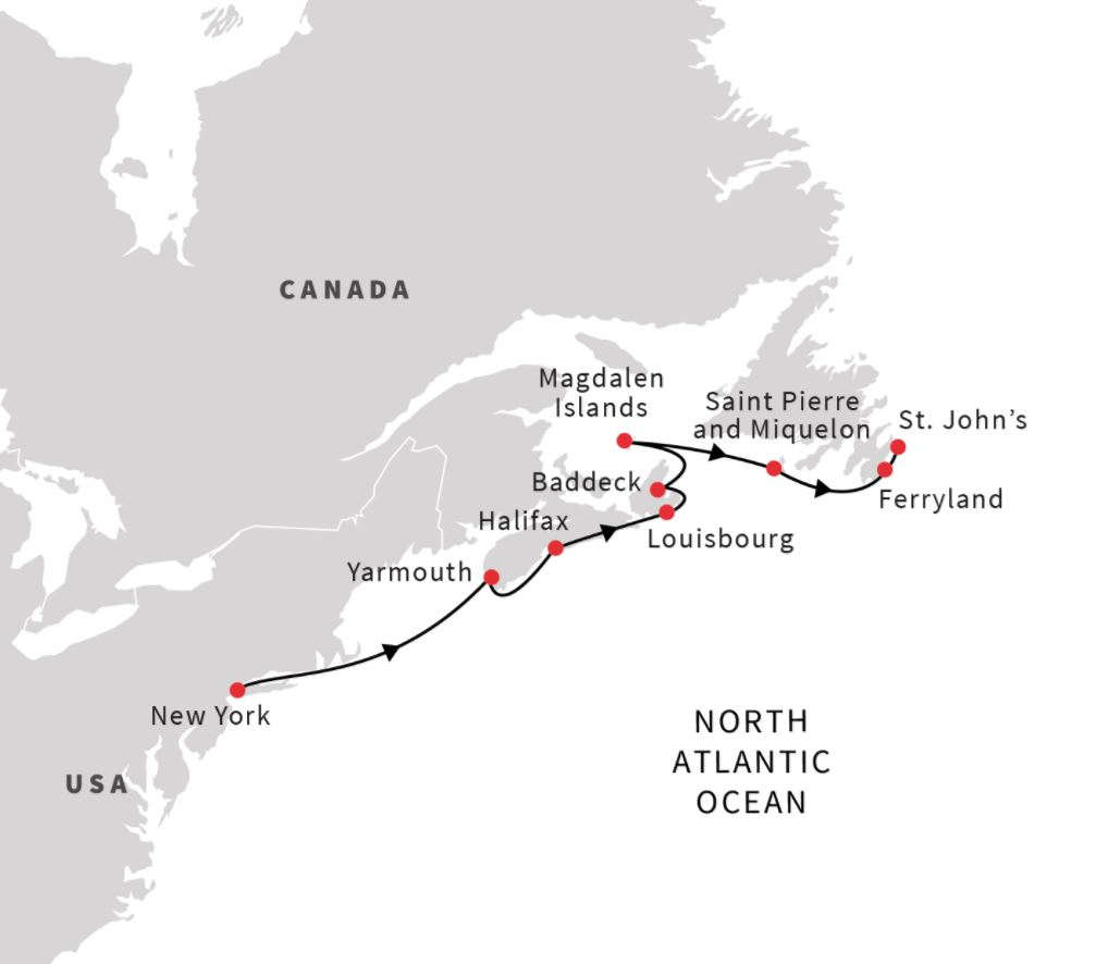 Map for Northeast US and Atlantic Canada (Northbound)